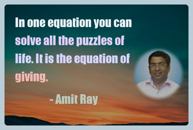 Amit Ray Motivation Quote In one equation you can solve all