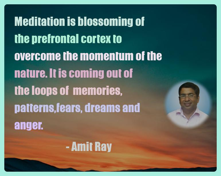 Amit Ray Motivation Quote Meditation is blossoming of the
