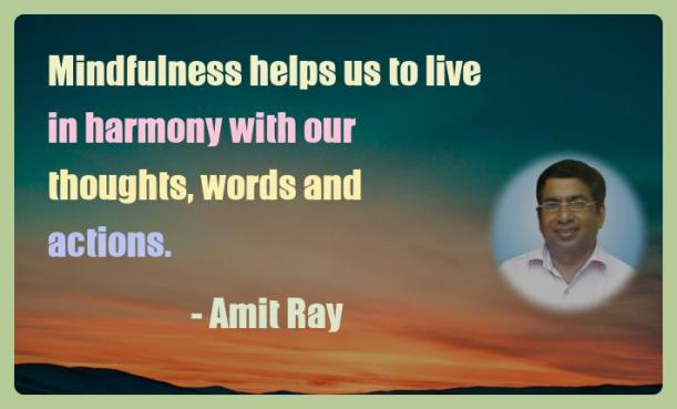 Amit Ray Motivation Quote Mindfulness helps us to live in