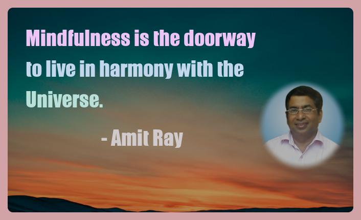 Amit Ray Motivation Quote Mindfulness is the doorway to live