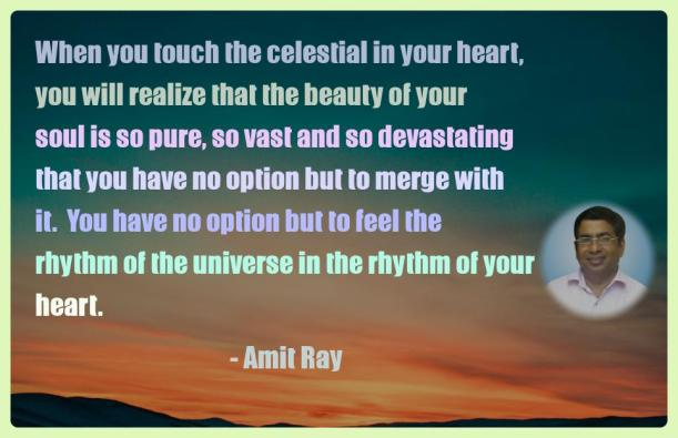 Amit Ray Motivation Quote When you touch the celestial in